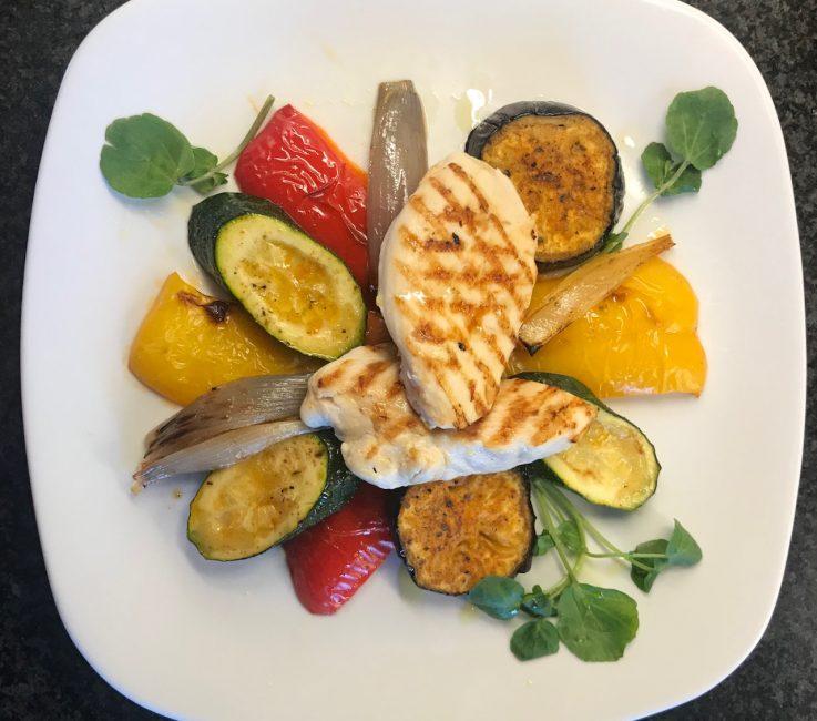 Grilled Mediterranean Vegetables with Chicken recipe